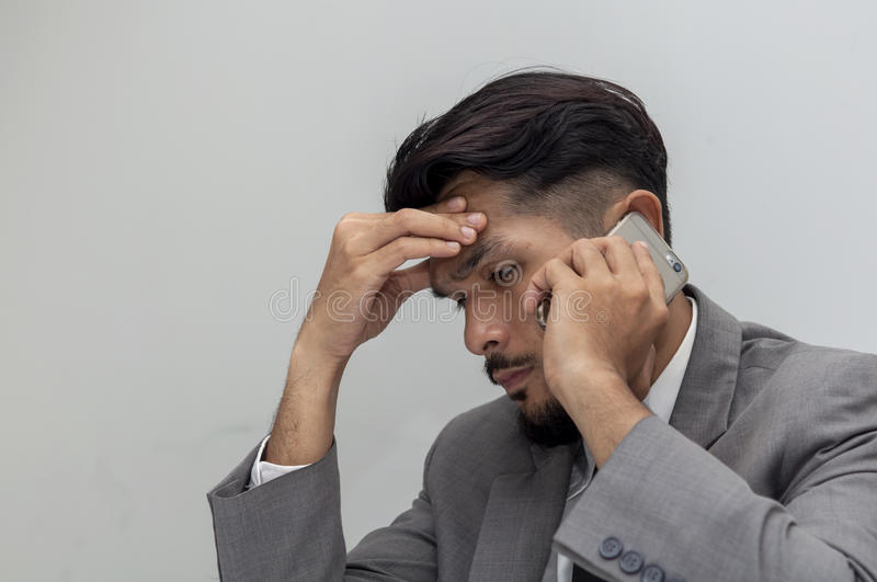 Young business man to Work fatigue stock images