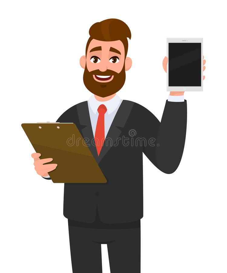 Young business man wearing a suit holding clipboard and showing new digital tablet computer PC. Person keeping the file pad. Young business man wearing a suit stock illustration