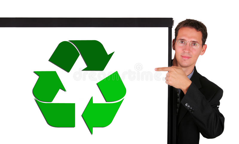 Young business man at white board showing royalty free stock photos