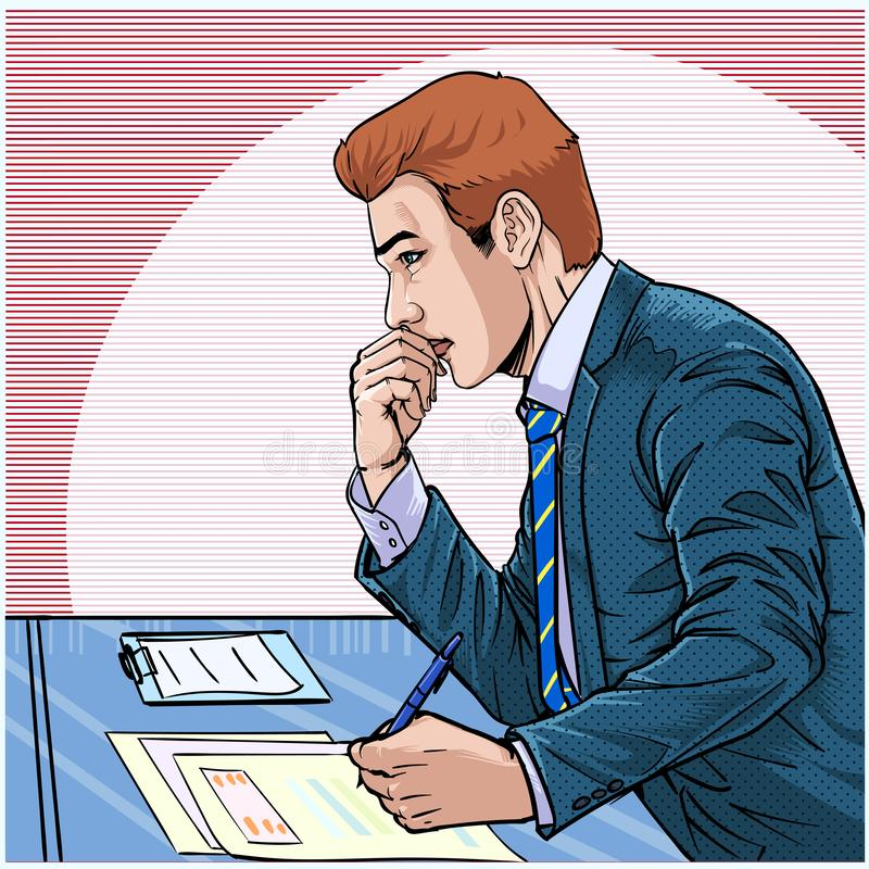 Young business men are stressed Illustration vector On pop art comics style Abstract dot colorful background. Business people Young business men are stressed at vector illustration