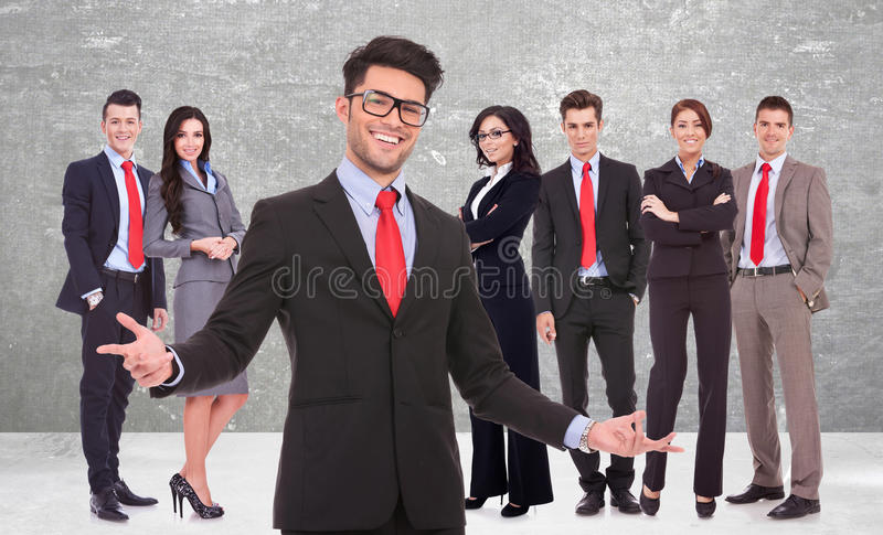 Download Business Man Welcoming You To His Successful Team Stock Photo - Image: 30097624