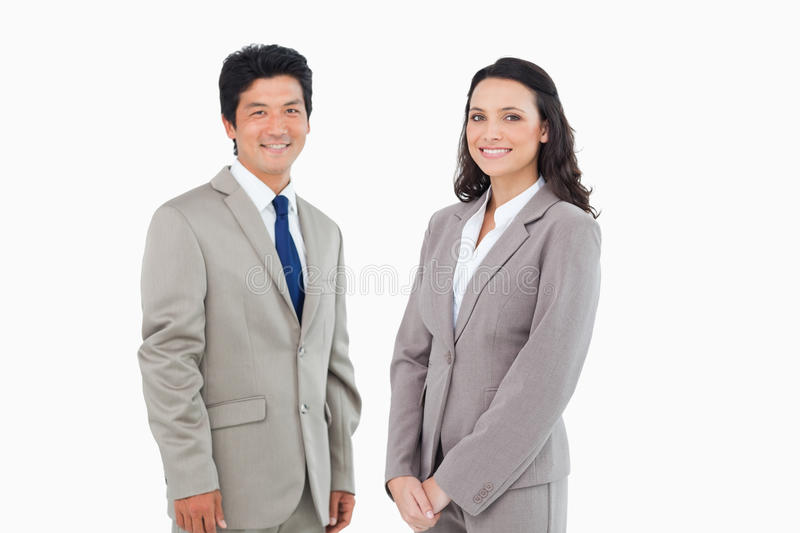 Young business partners standing together stock photos
