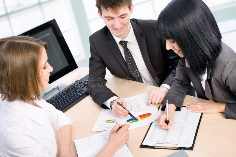 Young business people. Are working in the meeting room stock photos
