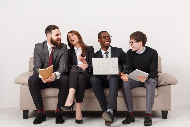 Young business people discuss marketing strategy stock photos