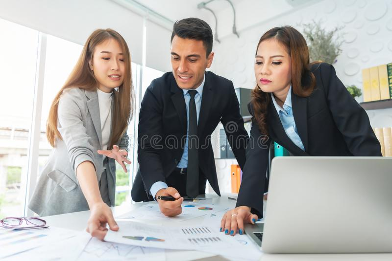 Young Business People are discussing and brainstorming together. royalty free stock photo