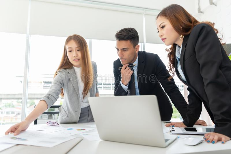 Young Business People are discussing and brainstorming together. royalty free stock images