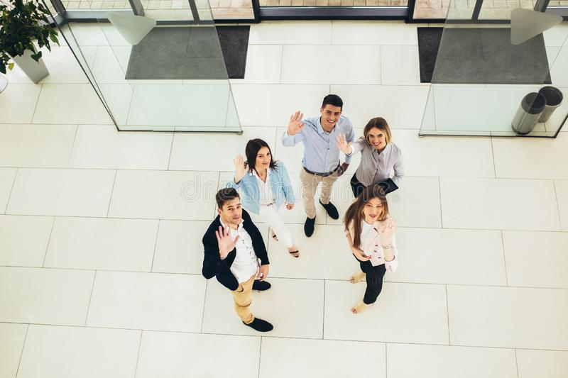 Business people group walking standing and top view. Young  business people group walking standing and top view royalty free stock photo
