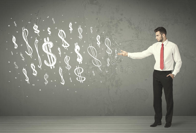 Young business people with hand drawn dollar signs. Concept stock photo