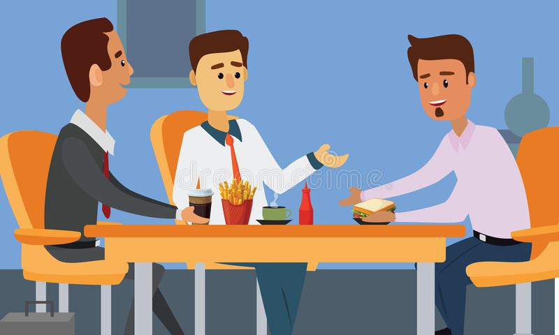 Young business people having lunch together. vector illustration