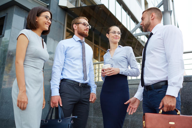 Young Business people Outside Office Building royalty free stock image