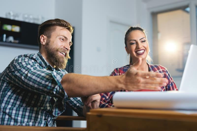 Business People Planning Strategy Analysis Office Concept. Young Business People Planning Strategy Analysis Office Concept royalty free stock image