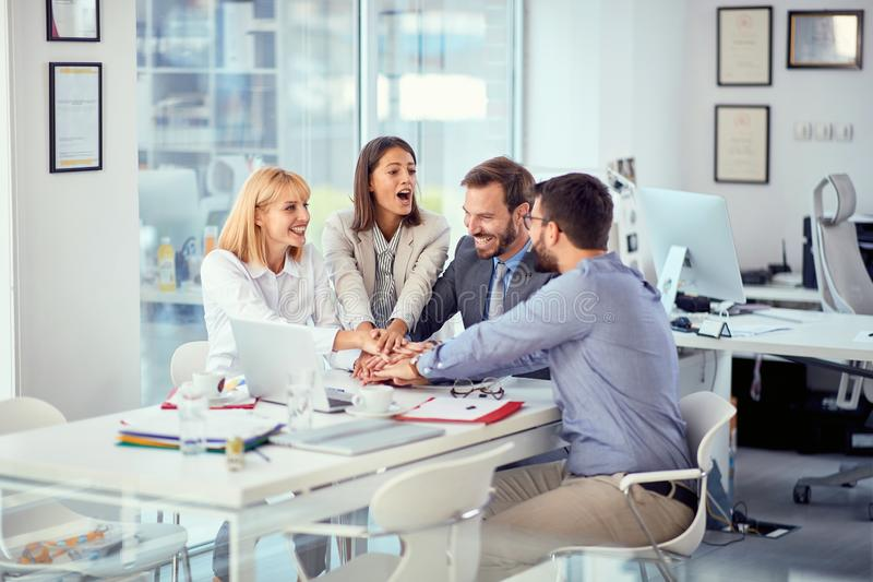 Young business people successfully completed business meeting. With clients royalty free stock photography