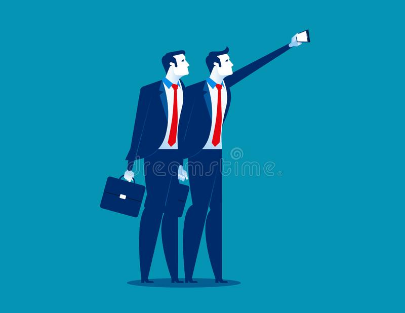 Young business people taking selfie. Concept business vector illustration stock illustration