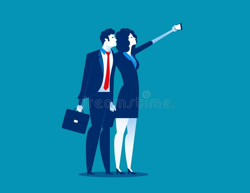 Young business people taking selfie. Concept business vector illustration royalty free illustration