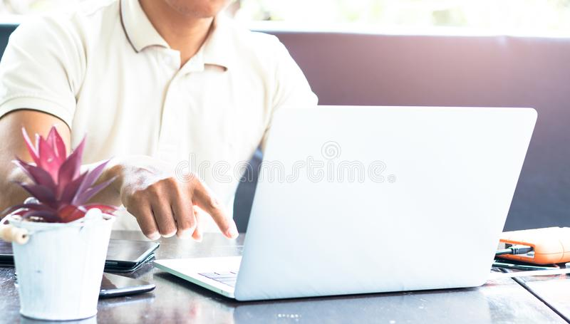 Young business people are using the notebook royalty free stock photo
