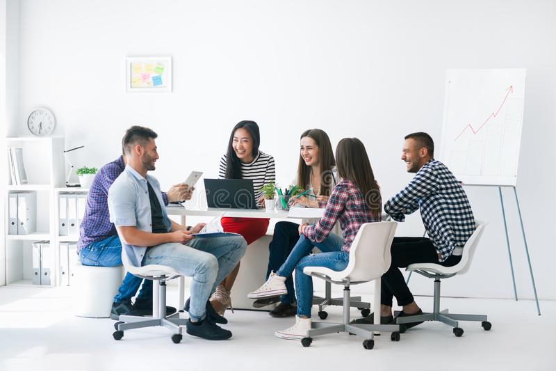 Young business people or students work in team indoor royalty free stock image