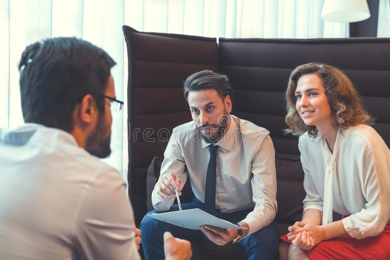 Young business people in the workplace stock photos