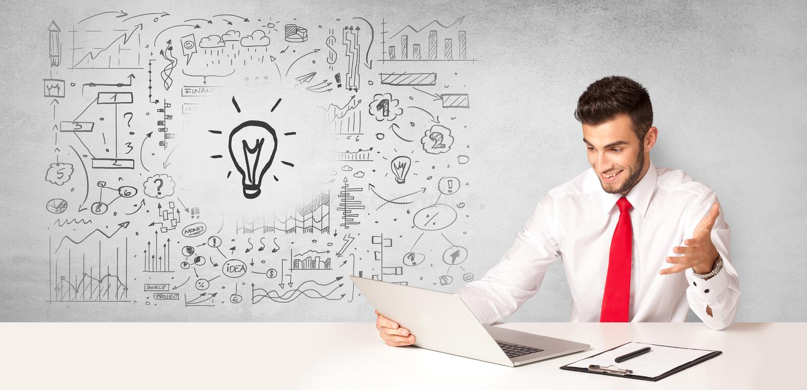 Business person with new idea concept. Young business person with new idea and workflow concept stock photography