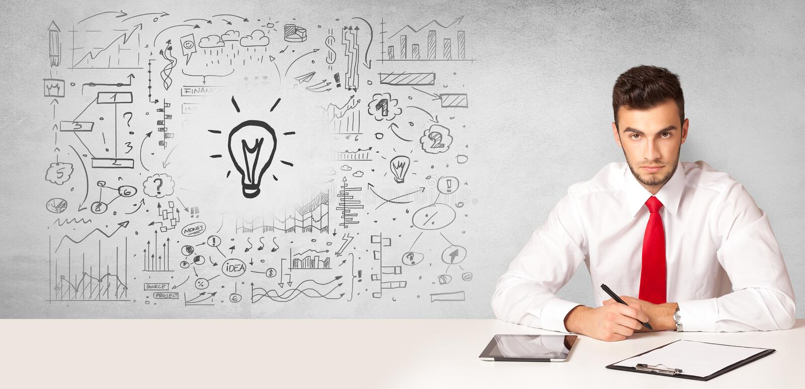 Business person with new idea concept. Young business person with new idea and workflow concept royalty free stock photos