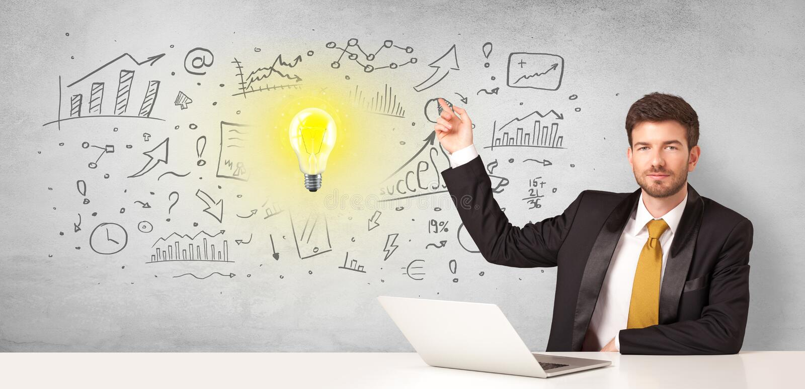 Business person with new idea concept. Young business person with new idea and workflow concept stock photo