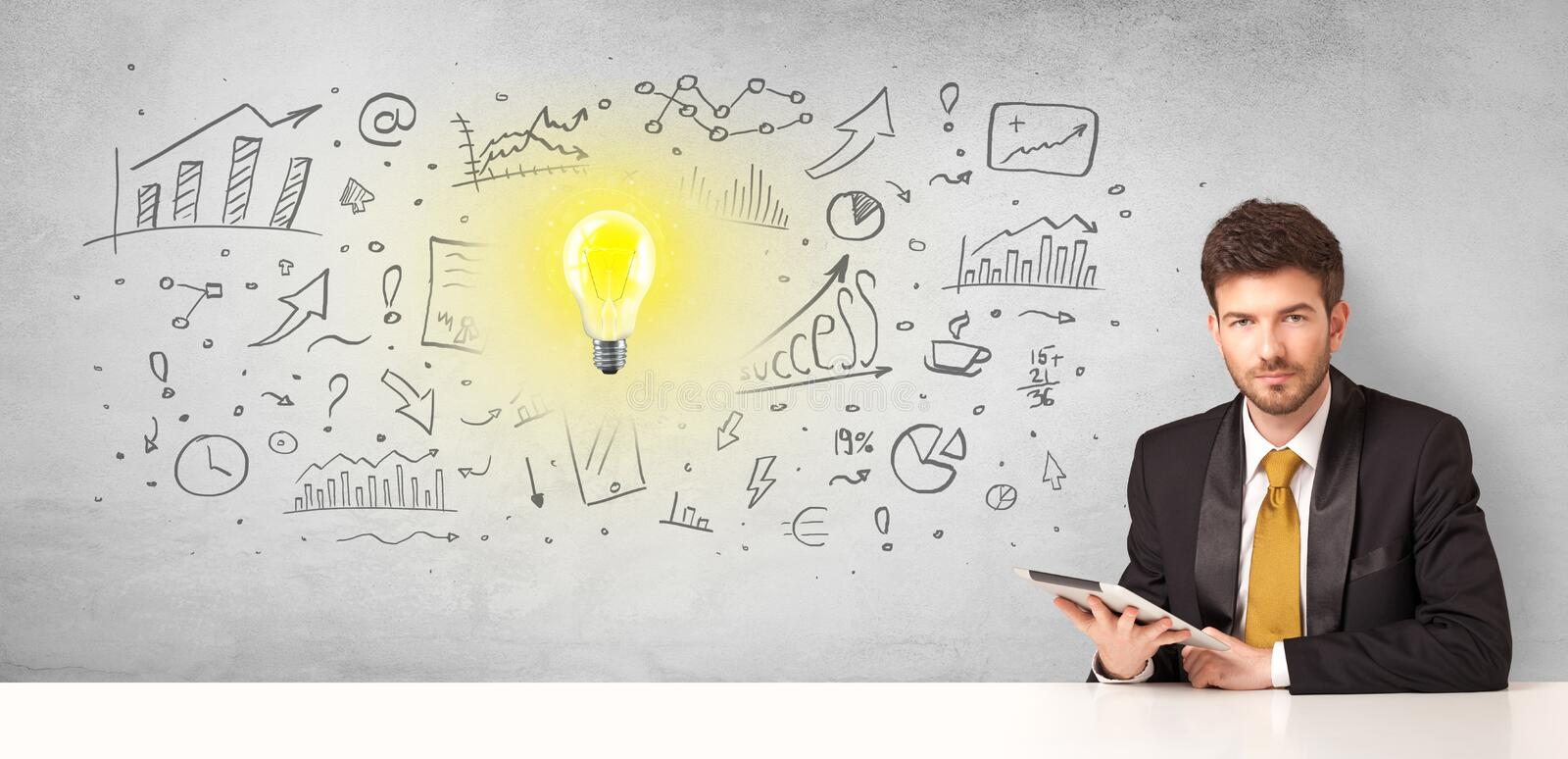 Business person with new idea concept. Young business person with new idea and workflow concept royalty free stock photography