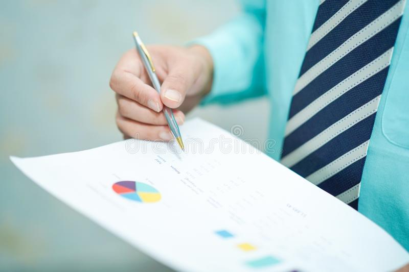 Young business smart manager working with new success startup project analyze graph plan. stock photography
