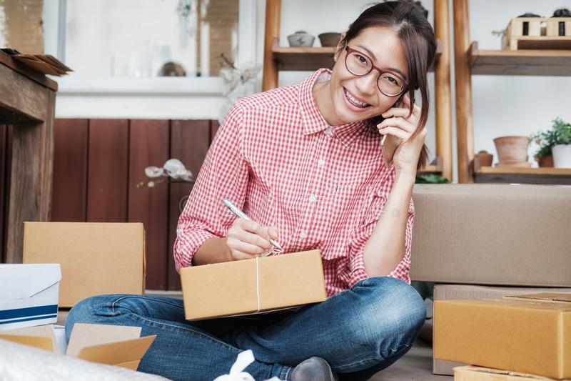Online seller owner.Online shopping. royalty free stock photo