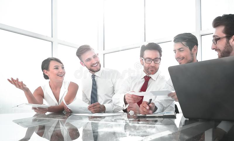 Young business team at a business meeting in the conference room royalty free stock image