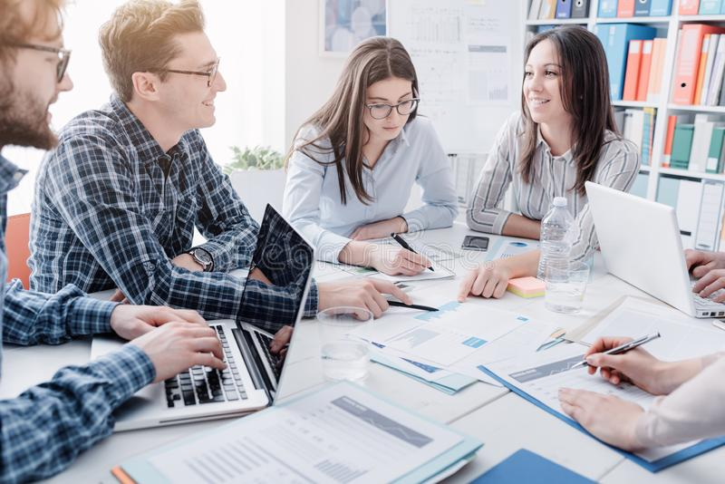 Young business team meeting in the office stock images