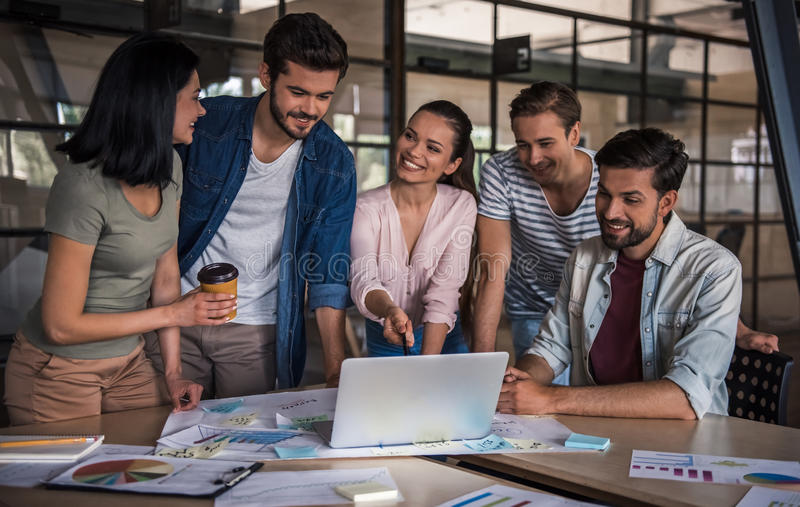 Young business team working royalty free stock image