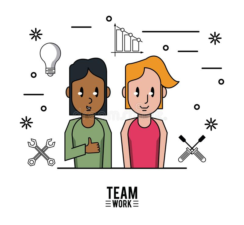 Young business teamwork royalty free illustration