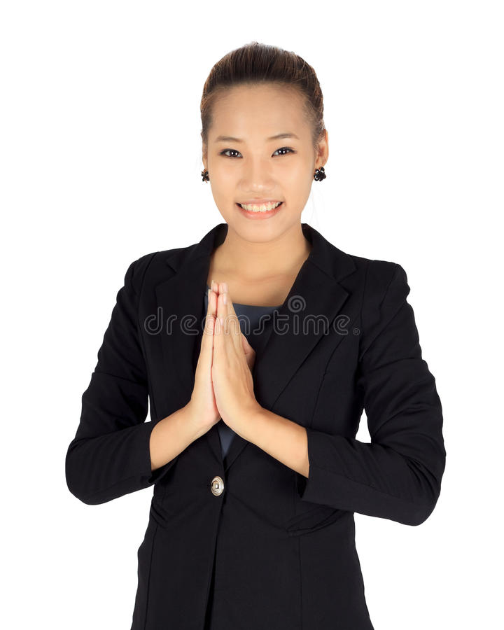 Young business with Thai paying respect posture. Isolated young business with Thai paying respect posture stock photo