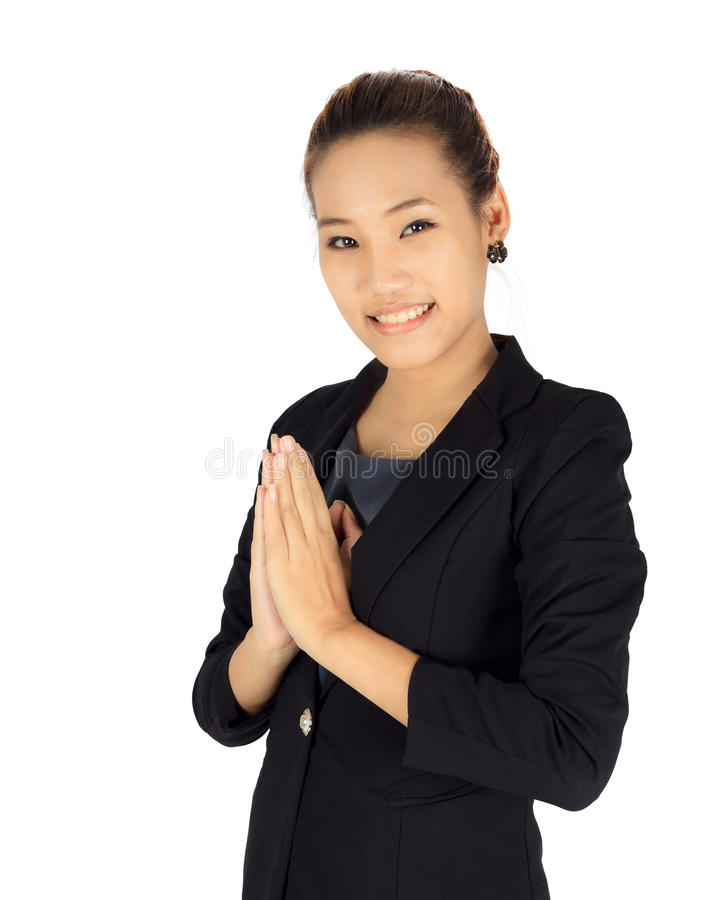 Young business with Thai paying respect posture. Isolated young business with Thai paying respect posture stock photography