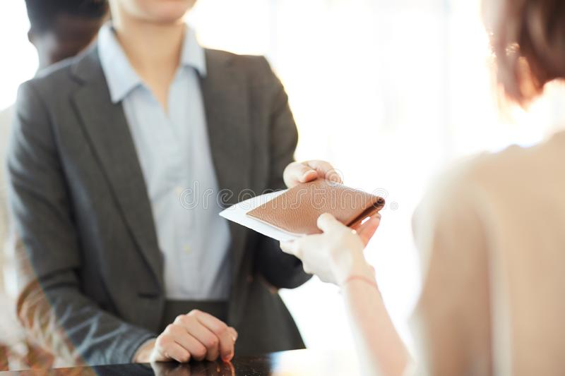 Passing documents royalty free stock photography
