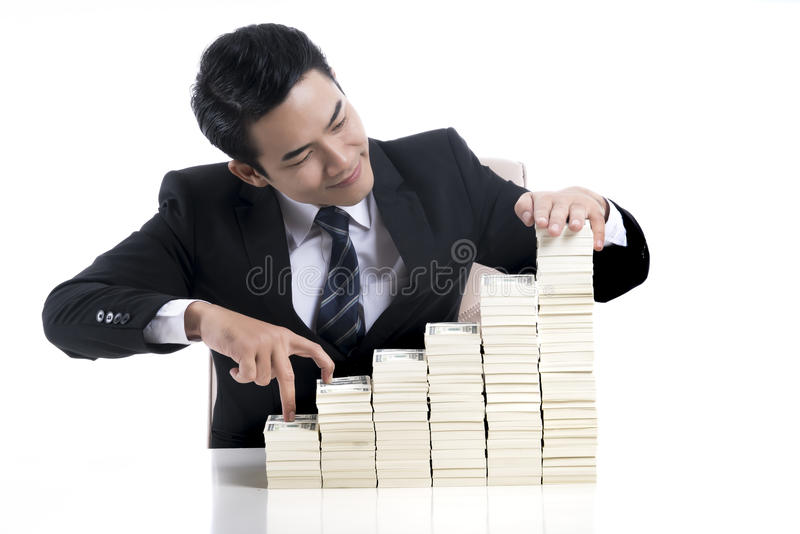Young business used finger acting like walking up the stairs of royalty free stock photos
