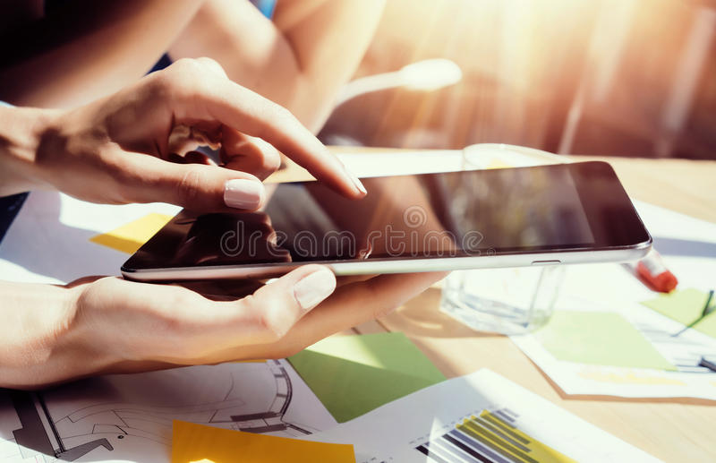 Young Business Woman Analyze Meeting Report Process.Virtual Startup Marketing Project.Creative People Making Great Work royalty free stock image