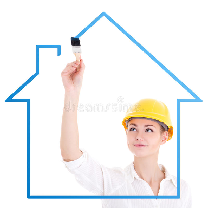 Young business woman architect drawing house with paint brush is. Olated on white background royalty free stock photo