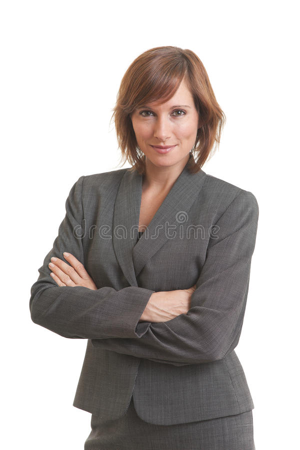 Young business woman with arms crossed stock image