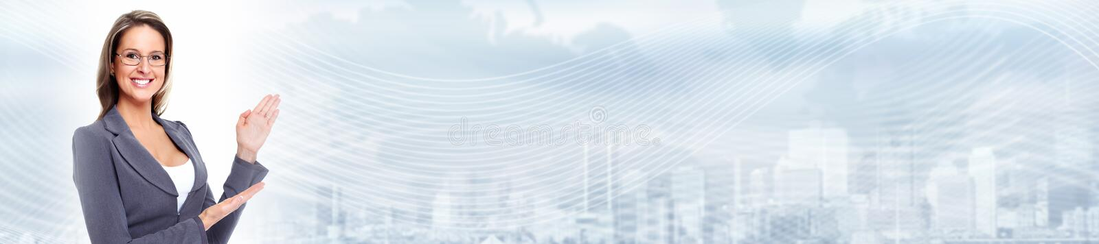 Young business woman. Beautiful young business woman over abstract background stock photos