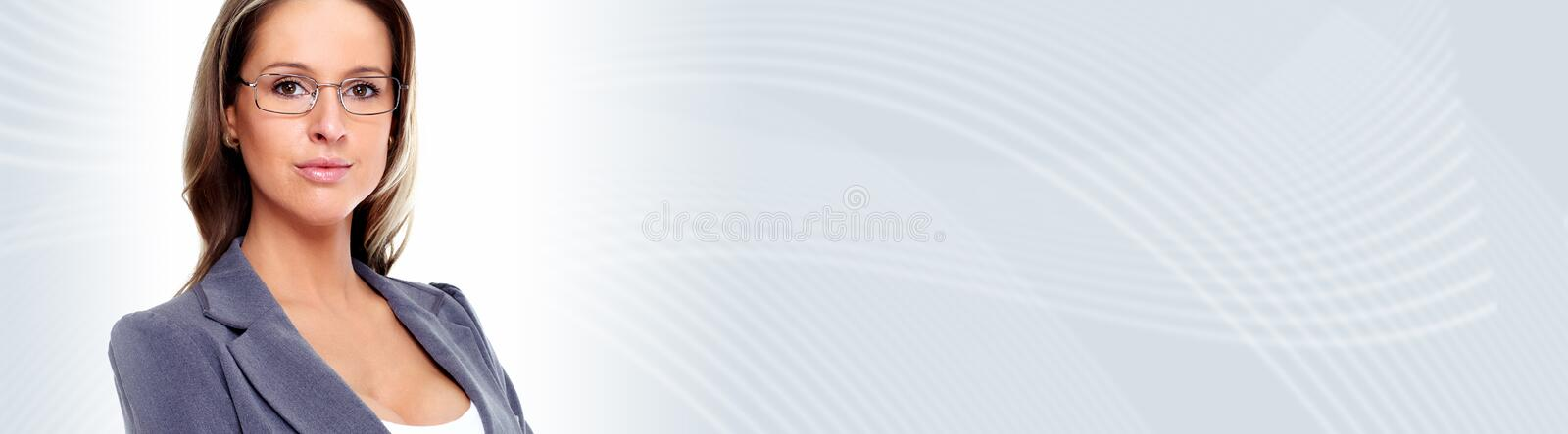 Young business woman. Beautiful young business woman over abstract background royalty free stock images
