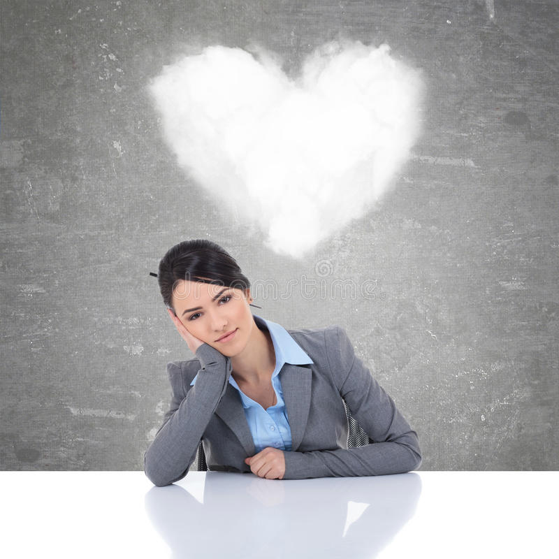 Young business woman being in love stock photo