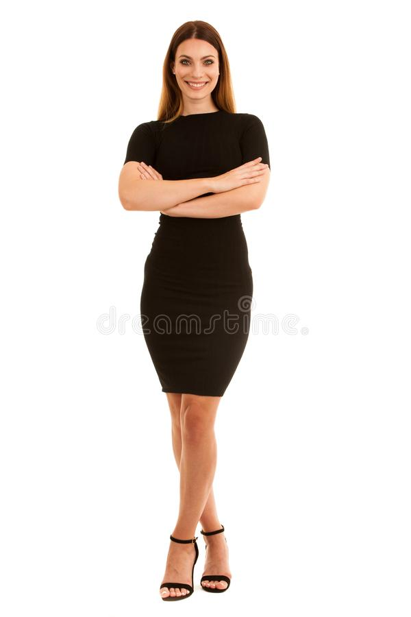 young business woman in black dress isolated over white background full length photography stock photos