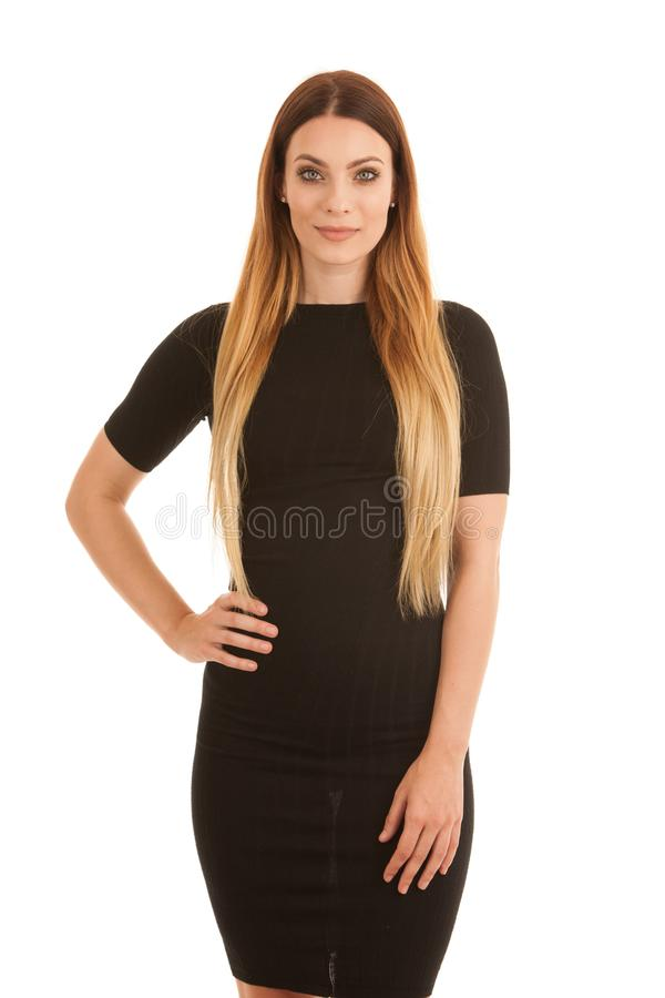 Young business woman in black dress isolated over white background royalty free stock images