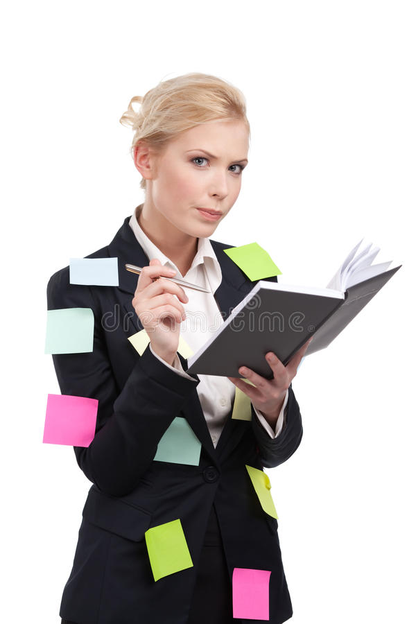 Download Young Business Woman In A Black Suit Holding Pen Stock Image - Image: 24812791