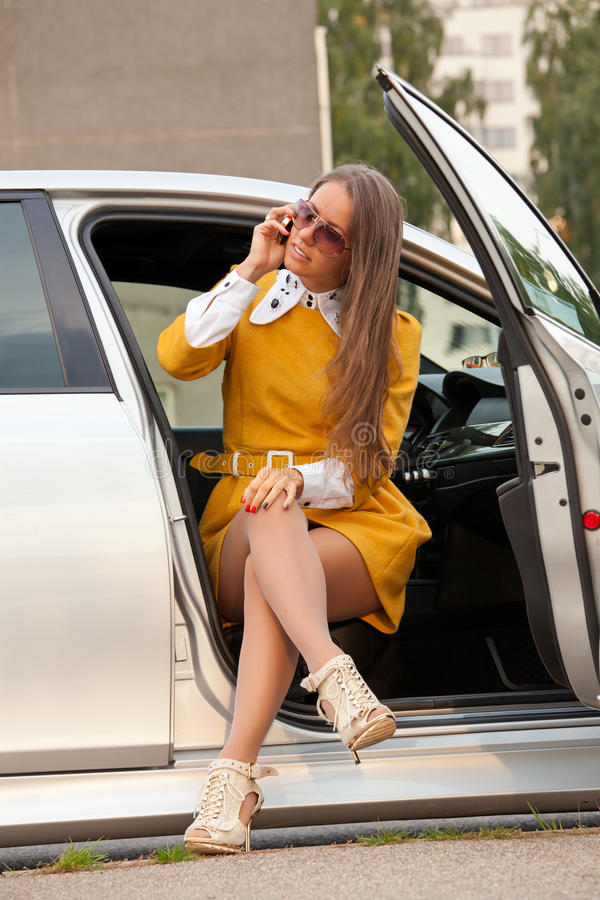 Young Business Woman Calling On The Phone Stock Photography