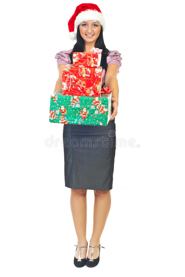 Young business woman with Christmas gifts royalty free stock photography
