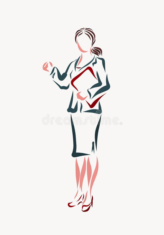 Young business woman in a classic suit with a folder of document stock illustration