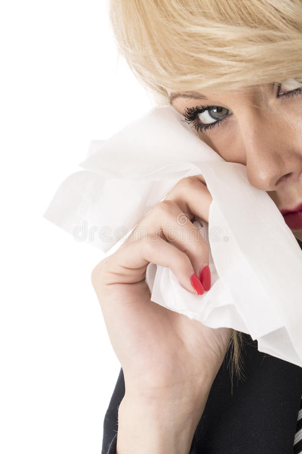 Young Business Woman Crying Using Tissue stock photos