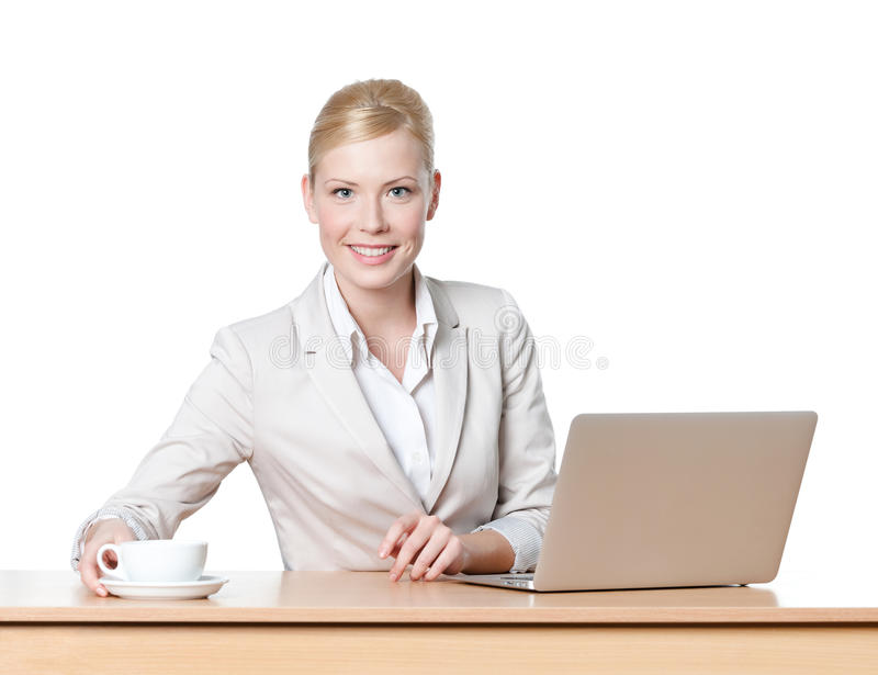 Young Business Woman With A Cup Of Tea Royalty Free Stock Photos