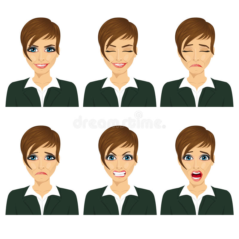 Young business woman with different facial expressions royalty free illustration